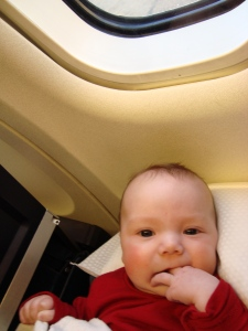 Chilling on the plane